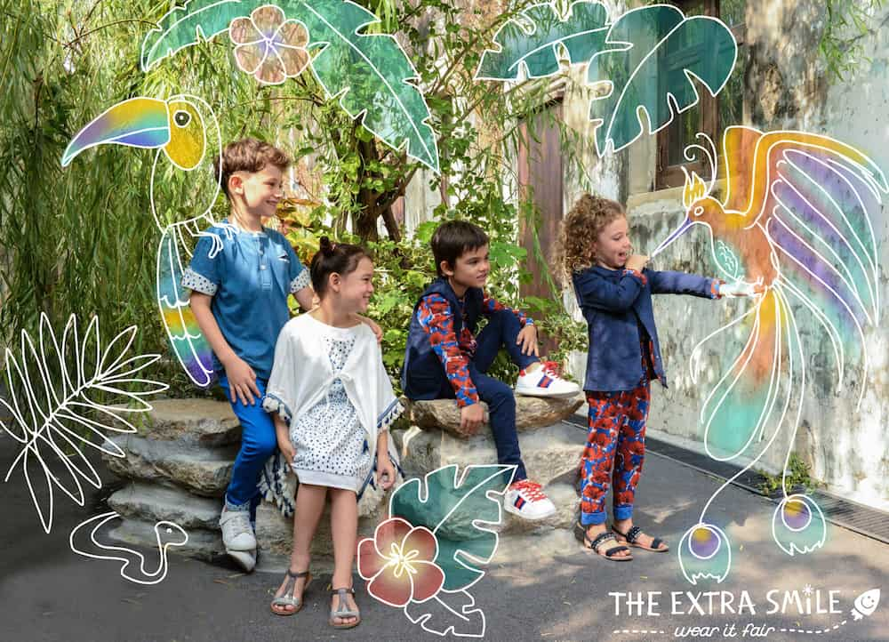 Conscious Gifts for kids: Four kids modelling The Extra Smile