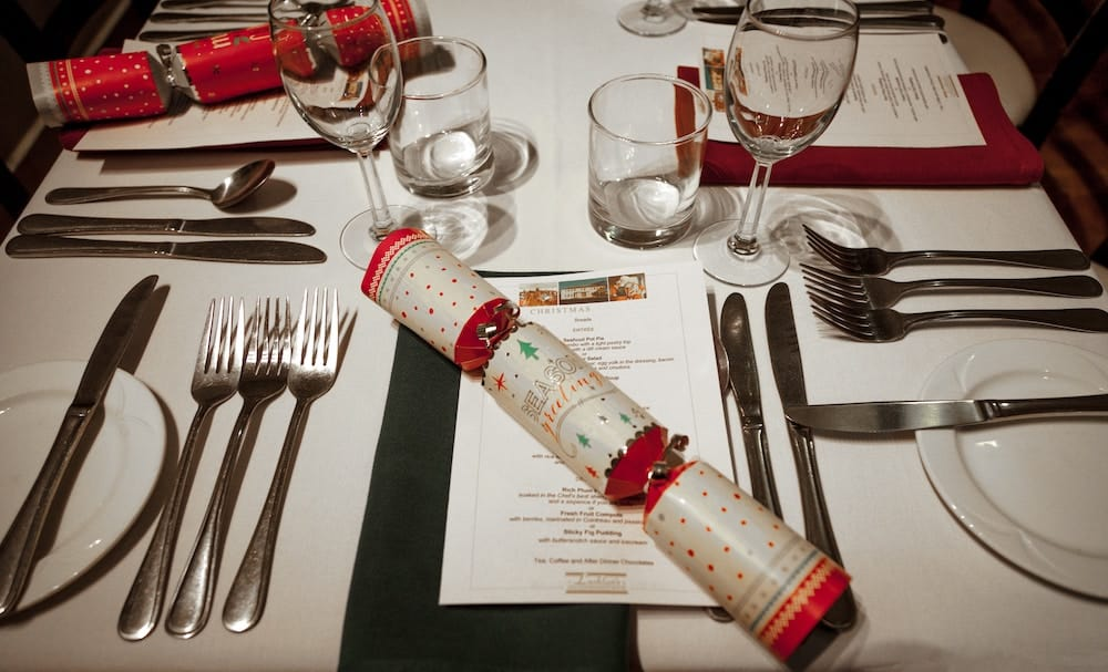 A christmas dinner place setting