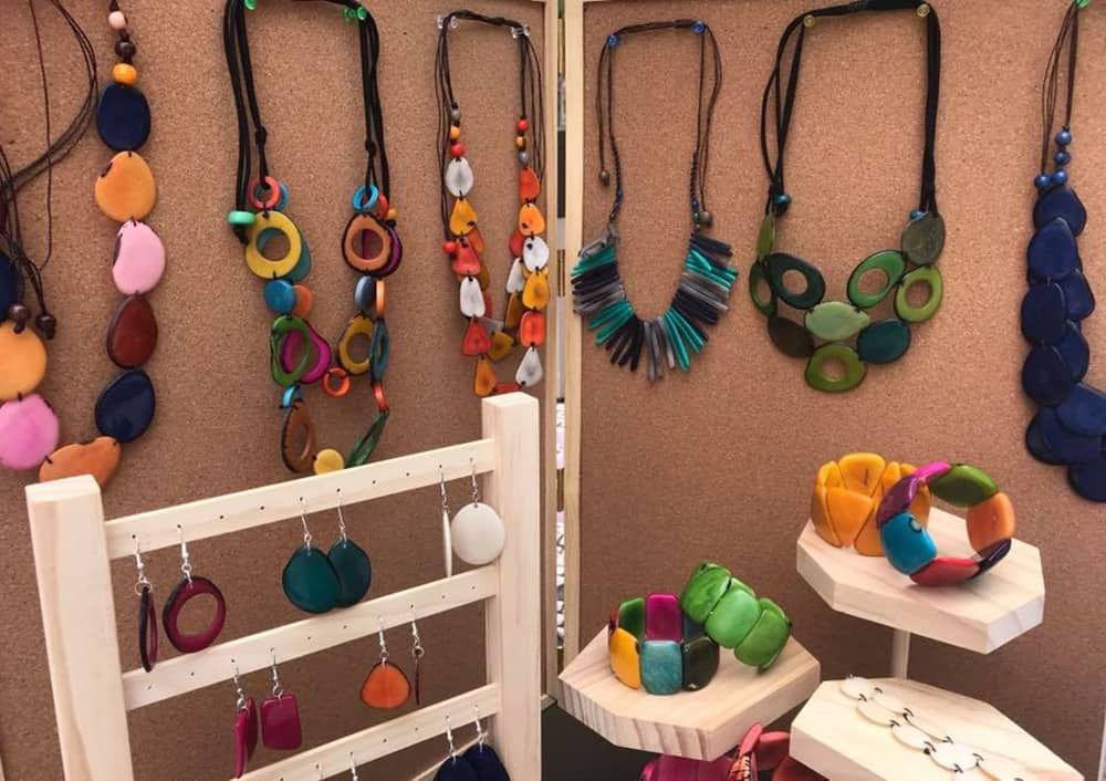 Colourful earrings, bracelets, and necklaces