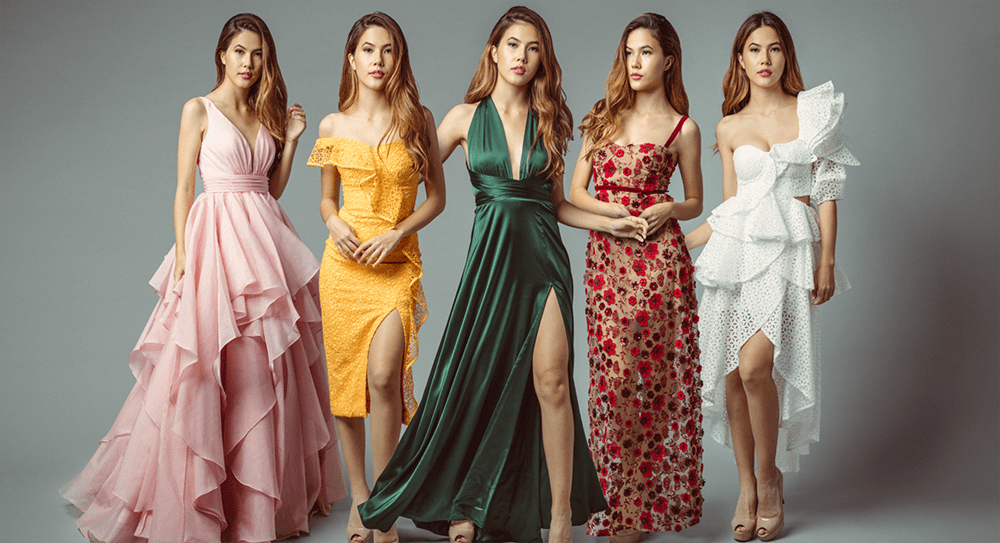 Five models wearing Rentadella dress rental