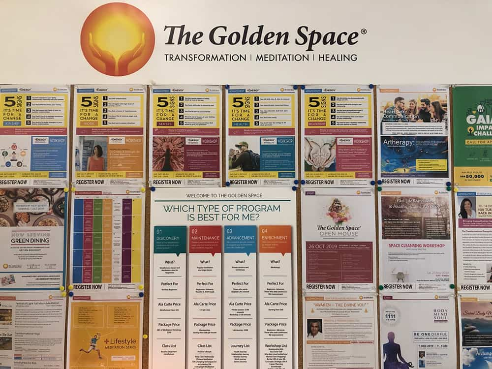 List of services at The Golden Space Meditation centre