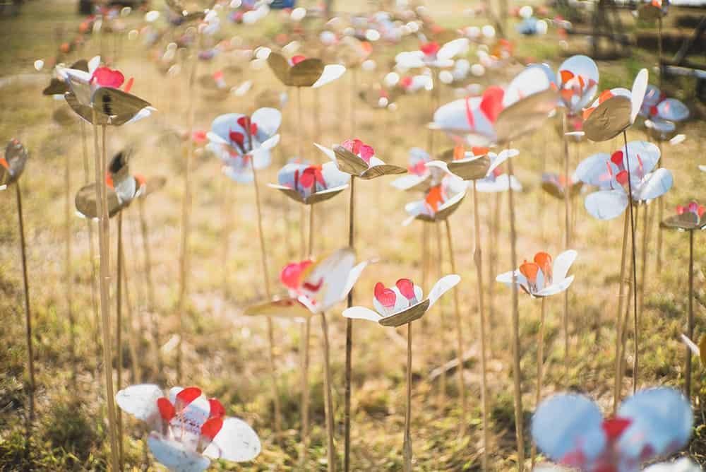 Flower art installation by Aligna