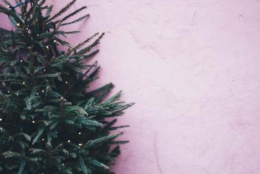 Christmas tree against pink wall