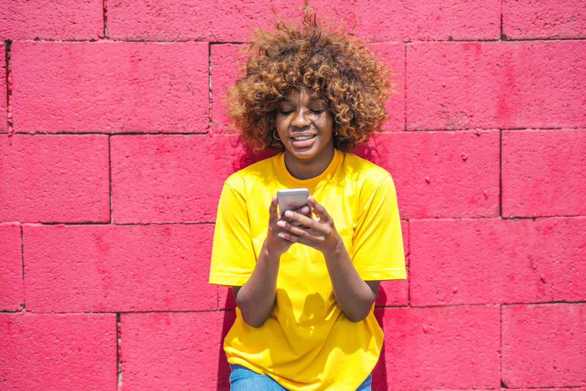 Girl downloading wellness app